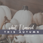 what I learned this autumn